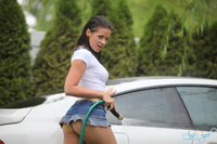 Anna Angel porn large hieraoceesf ann car carwash garden hose jeans miniskirt nakedgirlspussy outdoor solo wet white tshirt