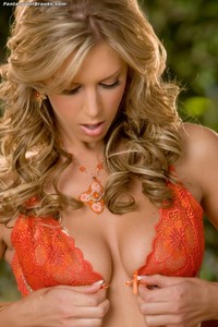 Brooke Banner xxx brookebanner brooke banner strips off orange lingerie