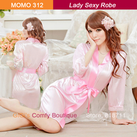 Satin Lace sex wsphoto wholesale price women faux silk font satin three quarter sleeve robe products black dressing gown