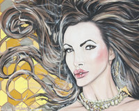 Honey Comb porn fullxfull listing nikki benz acrylic portrait painting