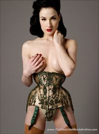 Dita Von Teese porn celebbabes dita von teese gallery exposes bare tits posing lacy lingerie